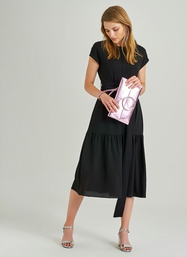 People By Fabrika Halka Tokalı Midi Elbise Siyah